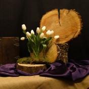 Derde Lijdenszondag 2017: We gebruiken een boomstam schijf als klok waarin we de jaarringen zien. Zij verraden de tijd die verstreken is, en verbeelden het thema: Het is bijna tijd. Jezus bereidt zich voor op wat komen gaat, en bid tot Zijn Vader. Dat dit uur, zo mogelijk, aan Hem voorbij mag gaan. Het mos staat voor stilte. De geschikte tulpen als symbool voor gebed: de bloemblaadjes staan open naar de hemel. Dank voor wat U hebt geleden, ik wil U eeuwig dankbaar zijn.
